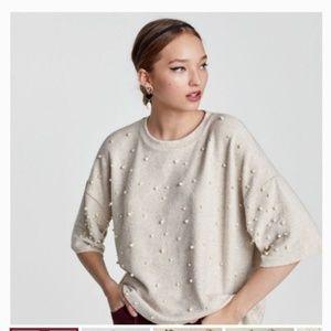 Zara Trafaluc Cream Soft Sweater With Pearls SM